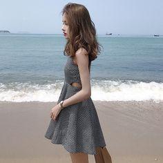 새로운 슬림 야생 껑충 허리 격자 무늬 지퍼 스트랩 민소매 드레스 스커트 여성 학생의 여름 새로운 도착