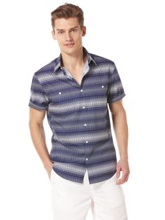Ombre Square Pattern Shirt by Perry Ellis Perry Ellis, Casual Shirts, Button Down Shirt, Men Casual, Pattern, Mens Tops, Clothes, Fashion, Outfits
