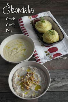 Garlic Dip, Garlic Bread, Greek Appetizers, Tapenade, Greek Recipes, I Foods, Pesto, Main Dishes, Dips