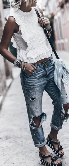 summer outfit idea: ripped jeans + top