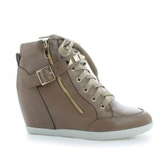 Bubble55 Taupe Gray PU Studded Lace Up Hidden Wedge Heel Ankle Booties