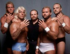 """The Four Horsemen: Sid Vicious, """"The Nature Boy"""" Ric Flair, Ole Anderson, """"The Enforcer"""" Arn Anderson & Barry Windham Nwa Wrestling, Watch Wrestling, Wrestling Stars, Wrestling Superstars, Wcw Wrestlers, Barry Windham, Arn Anderson, Ric Flair, Professional Wrestling"""