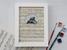 Schutzengel Unikat Kunstdruck auf Notenpapier von dorotheatheodora