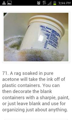 remove ink off of plastic containers