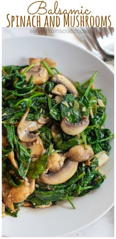 An incredibly fast and easy side dish, these Balsamic Spinach and Mushrooms are a new favorite in our house that& packed full of flavor and nutrition! Mushroom Side Dishes, Veggie Side Dishes, Vegetable Sides, Side Dishes Easy, Side Dish Recipes, Yummy Healthy Side Dishes, Recipes Dinner, Healthy Sides, Spinach Stuffed Mushrooms