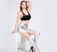 rude side Thin Pu Leather Splicing Leggings Fashion High Quality Strench Render Pants Night Club Hot Wear