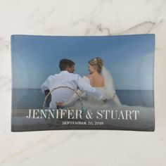 Modern text overlay personalized wedding photo trinket trays - home gifts ideas decor special unique custom individual customized individualized