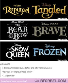What Goes On In The Disney Studios When Making Decisions About Movie Titles…