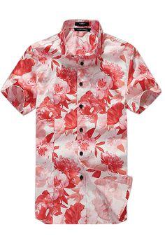 Flowers Printing Short-Sleeved Shirt