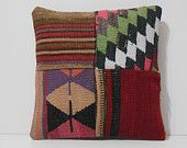 boho style pillow 16x16 DECOLIC couch pillow cover decorative pillowcase patchwork cushion fabric geometric rug red 15428 kilim pillow 40x40