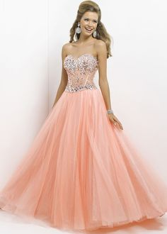 Pink by Blush 5309 - Coral Illusion Beaded Ball Gown Prom Dresses Online