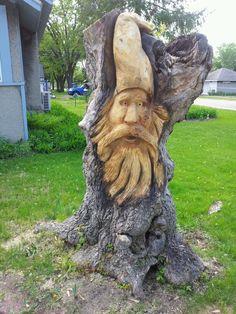 Woodspirit carved in a boxelder stump