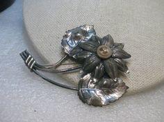 Vintage 1940's Sterling Silver Floral  Brooch by stampshopgirl