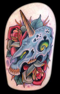 New School Unicorn Skull & Roses by David Tevenal. http://www.davetattoos.com/  #UnicornTattoo #Tattoo