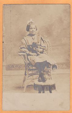 Studio-Real-Photo-Postcard-RPPC-Girl-in-Rattan-Chair-Holding-Teddy-Bear Teddy Bear Pictures, Vintage Teddy Bears, Photo Postcards, Beautiful Children, Old Photos, Rattan, Studio, Chair, People