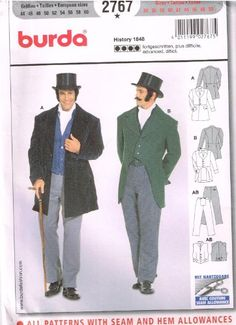 Burda 2767 Mens Pattern 1848 Waist Coat Suit Historical Costume Size 34 - 50 (Euro 44 to 60) - Sewing Pattern and Instructions for Men's 1848 suit: Semi fitted Waist Coat, pants, vest. Purchased Top Hat Product Features  Sewing Pattern with Instructi