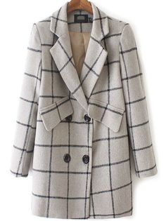 Grey Lapel Double Breasted Plaid Coat 40.34
