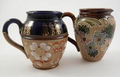"Royal Doulton Lambeth Slaters Stoneware Pottery Small 3.5"" Pitchers Jug Creamers #RoyalDoultonLambeth"