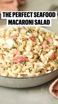 Seafood Appetizers, Seafood Salad, Pasta Salad, Seafood Pasta, Macaroni Pasta, Pizza Recipes, Seafood Recipes, Salad Recipes, Old Bay Seasoning