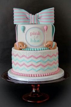 How adorable!  Gender revealed cake by Zoete Zonde!