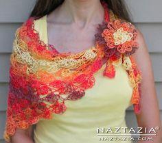Free Pattern from Crochet Chiq - Crochet Aurora Lace Shell Stitch Shawl - Crocheted by Naztazia