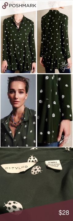 "Anthropologie 11.1 Tylho Lakin Tunic ladybug Green Gorgeous! EUC. Length is 29"". 18"" armpit to armpit. 100% rayon. Machine wash cold. Anthropologie Tops Tunics"