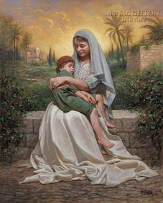 """Jon McNaughton, *Child of Mine* -- """"There is a gap of time in the Saviors life as he grew from boy to manhood where very little is mentioned. I imagined the boy Jesus in his mothers arms as she comforts him gently. She may have just wiped away his tears as he managed to skin his knee as all boys do... As she holds him close, she feels in her heart that for a brief moment little Jesus is safe and no one else can have him. Thus the title---Child of Mine."""""""