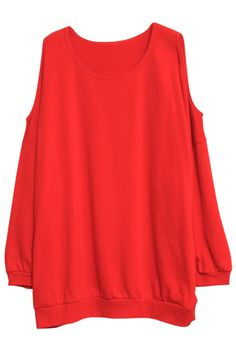 Off Shoulder Red Pullover #ROMWE