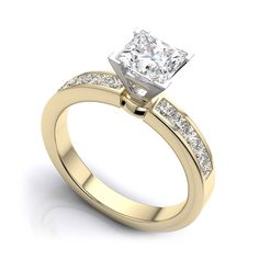 Princess Cut Channel Set Diamond Engagement Ring in 18k Yellow Gold (3/4 Carat) SI I