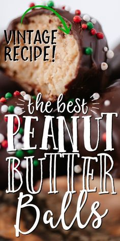"""Rich and buttery, these old-fashioned peanut butter balls are a """"no bake recipe"""" straight from grandma's recipe box. Rice Krispie treats are crushed and mixed with smooth peanut butter and powdered su Christmas Snacks, Christmas Cooking, Holiday Treats, Holiday Recipes, Christmas Candy, Best Peanut Butter, Peanut Butter Balls, Peanut Butter Recipes, Holiday Baking"""