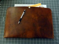 This rich, full grain, hand Antiqued sleeve, measures 16 X 10 1/2 and is perfect for any document, notebook, notepad, or even your e reader or