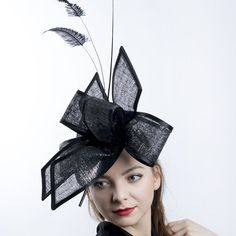 Big bow fascinator in black and silver by Irina Sardareva Couture Millinery Silver Hats, Royal Ascot Hats, Tea Party Hats, Black Headband, Cocktail Hat, Church Hats, Top Hats, Big Bows, Derby Hats