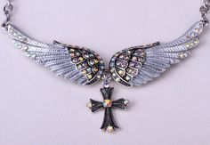 Crystal Angel Wing Cross Adjustable Necklace