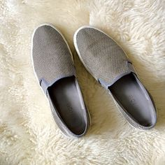 """Vince slip on sneakers gray Vince slip on sneakers in textured, woven tech fabric. Grosgrain piping trims top, canvas lining, with padded leather insole. 1"""" rubber sole. Stretch sides ease slip on fit. I'm between 7.5-8 and these are slightly too big for me.  Please use offer feature if you'd like to negotiate price. Vince Shoes Sneakers"""