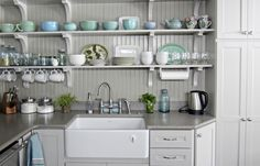 Using corbels and beadboard from the lumberyard, and shelves from another project, this reader created open shelving in her kitchen and a stunning display for her collection of turquoise and white dishware. Kitchen Corner, Kitchen Shelves, Kitchen Storage, New Kitchen, Kitchen Decor, Kitchen Cabinets, Kitchen Ideas, Open Cabinets, Pantry Ideas