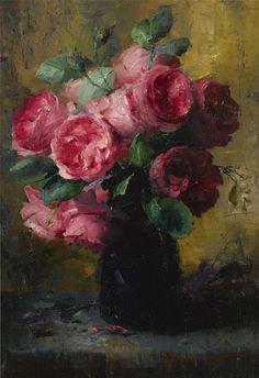 """Frans Mortelmans (1865-1936), """"Pink Roses in a Vase"""""""