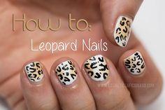leopard print, leopard nail art, nail art tutorial, nail art for nubs, nail art for short nails