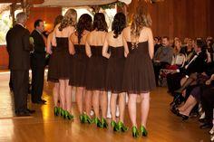 Bridesmaids green Nina shoes, brown j. crew dress