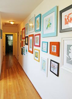 Travel Wall - Buy a map or postcard from each place you visit and frame it. Or, colorful frames for kids artwork.