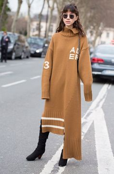 Paris Fashion Week street style, sweater dress, boots, sunnies, styling, outfit ideas