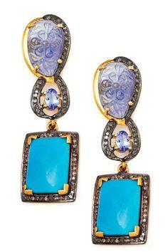 Turquoise, Tanzanite & Champagne Diamond Drop Earrings by Jewels By Lori K on @HauteLook