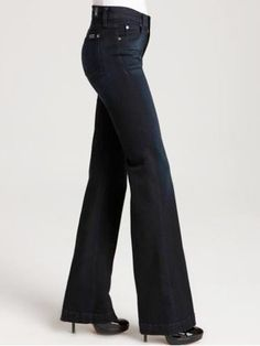 If you are an hourglass, a classic, wide-legged trouser with a mid-rise and flat front will keep you looking slim in all the right places—but still show off your sexy curves.    7 For All Mankind High Waist Slim Denim Trouser in Atlantic Twilight Wash, $169, www1.bloomingdales.com
