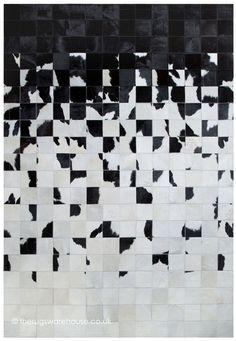 Crumple Rug, a stunning handmade monochrome black & white cowhide leather rug (handmade in Spain, 6 set + custom sizes) http://www.therugswarehouse.co.uk/modern-rugs3/girona-rugs/crumple-rug.html #rugs #monochrome #luxury