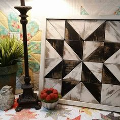Image of Barn Quilt Block Set - Antique Black and White