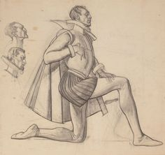DEAN CORNWELL (American, 1892-1960). Sir Walter Raleigh, studyfor Raleigh Room mural, 1938. Charcoal pencil on paper. 1... Image #1