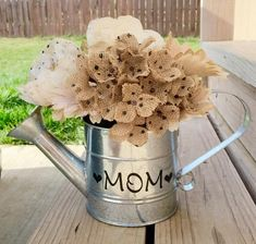 Looking for a cute Mother's Day gift?! This is the perfect decorating idea for home decor! Fill with flowers, greenery or leave plain. This metal watering can i