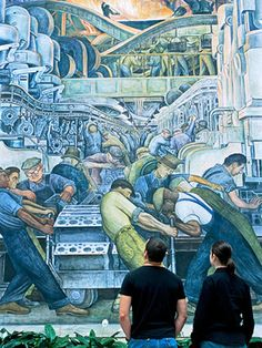 #FaureciaNAIAS2014 I would incorporate an industrial metallic look to the door panels of the interior of the car.  The inspiration would be from the industrial theme found in a mural at the Detroit Institute of Arts (Diego Rivera Mural).