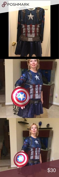 Captain America costume, FREE shield!!! 🎃🎃🎃Captain America costume, worn once, great condition, perfect for Halloween 🎃🎃🎃 fits size 8-10 Dresses Mini