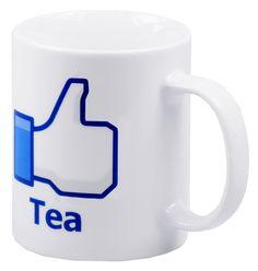 """Facebook krus med """"liker"""". Facebook krus kommer som Kaffe og Te."""