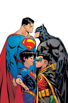 Described as a prologue to SUPER SONS, Patrick Gleason and Peter Tomasi pit Robin & Superboy together, with Batman & Superman in the wings. Dc Rebirth, Arte Dc Comics, Dc Universe, Comic Books Art, Comic Art, Heros Comics, Deadpool Comics, Univers Dc, Detective Comics